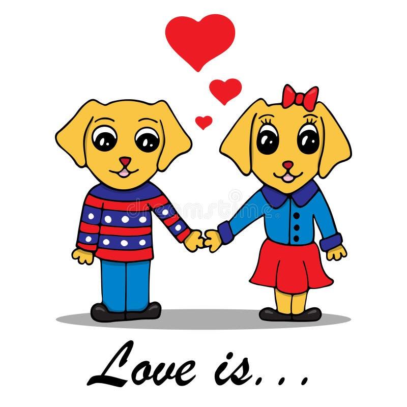 Wektorowa ilustracja z kochającą parą psy ilustracji