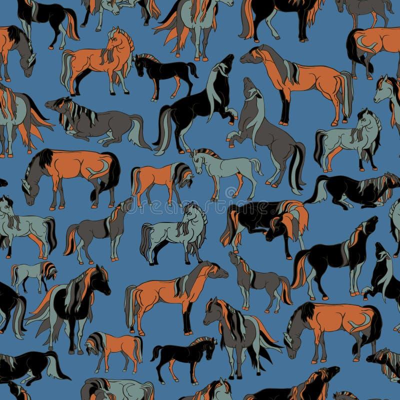 Wektorowa ilustracja z koniami royalty ilustracja