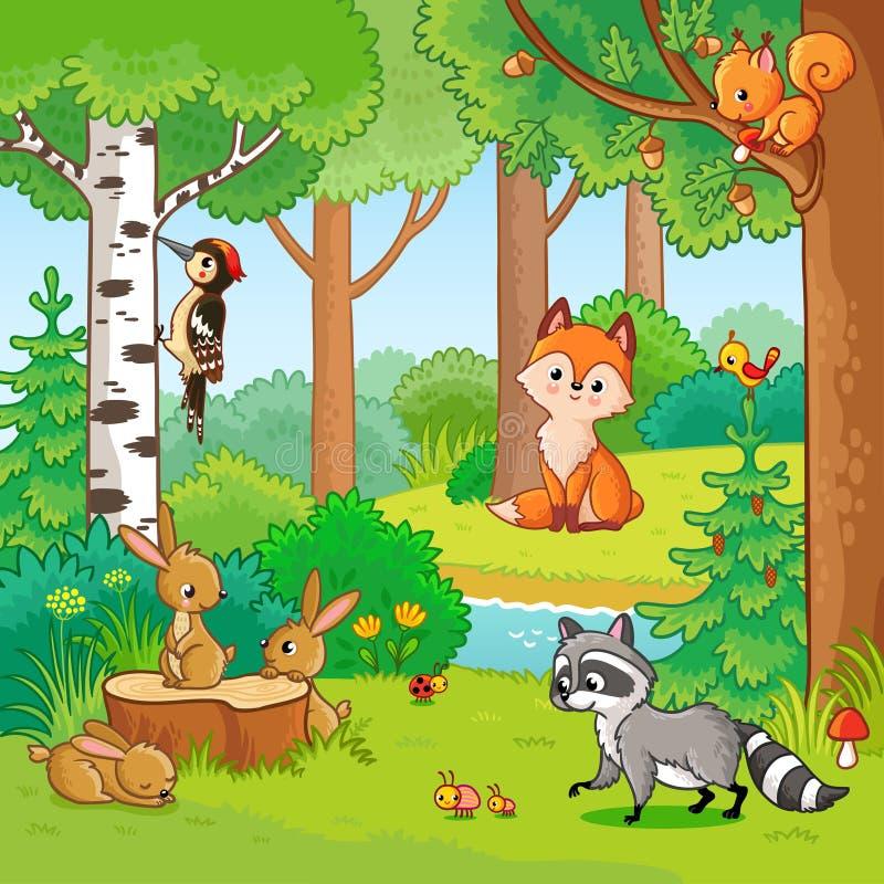 Wektorowa ilustracja z kreskówek zwierzętami royalty ilustracja