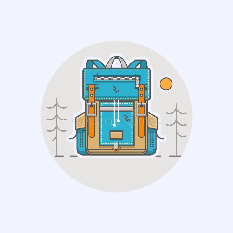 Wektorowa ilustracja z kreskówka płaskim plecakiem i sport walizką w nowożytnym płaskim liniowym stylu ilustracji