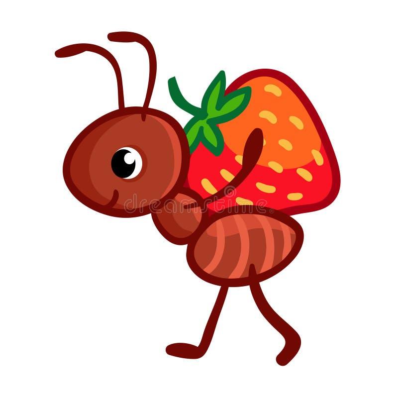 Wektorowa ilustracja z mrówką która znosi ilustracja wektor
