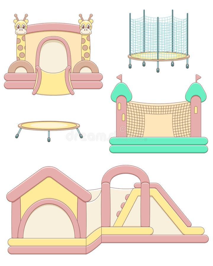 Wektorowa ilustracja z nadmuchiwanym i skokowym trampoline ilustracji
