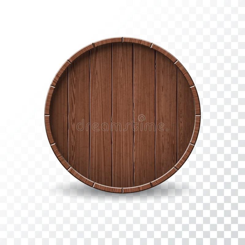 Wektorowa ilustracja z odosobnioną drewno baryłką na przejrzystym tle royalty ilustracja