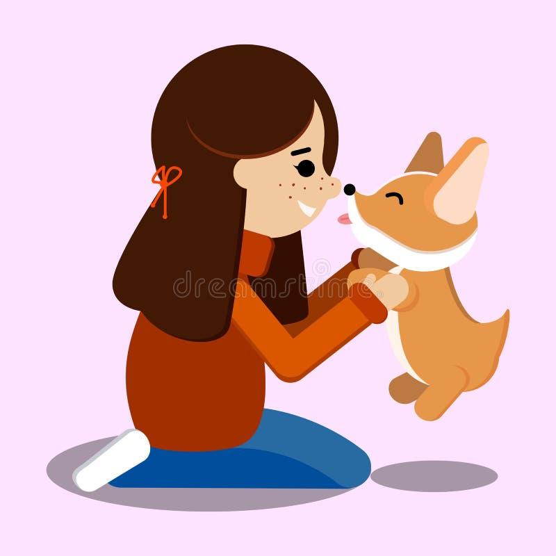 Wektorowa ilustracja z odosobnioną młodą dziewczyną w cajgach i pulowerze, jej zwierzęcia domowego Welsh corgi szczeniak ilustracja wektor