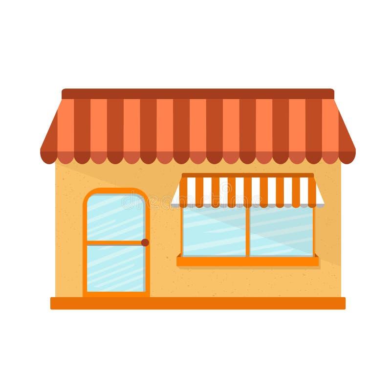 Wektorowa ilustracja z płaskim sklepu budynkiem ilustracja wektor