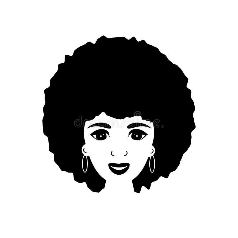 Wektorowa ilustracja z piękną afro amerykańską kobietą w blac ilustracja wektor
