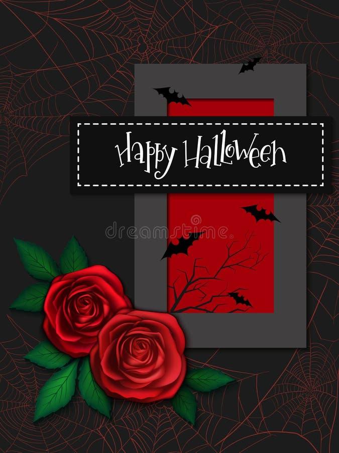 Wektorowa ilustracja z projekta szablonem dla Halloween wydarzenia sztandaru z szczegółowymi jaskrawymi różami, gałąź i szczęśliw ilustracja wektor