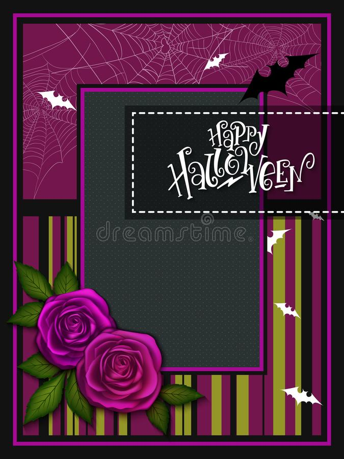 Wektorowa ilustracja z projekta szablonem dla Halloween wydarzenia sztandaru z szczegółowymi jaskrawymi różami, gałąź i szczęśliw ilustracji