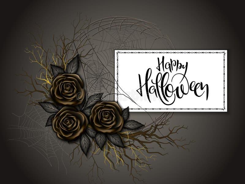 Wektorowa ilustracja z projekta szablonem dla Halloween wydarzenia sztandaru z szczegółowymi jaskrawymi różami, gałąź, pająk sieć ilustracji