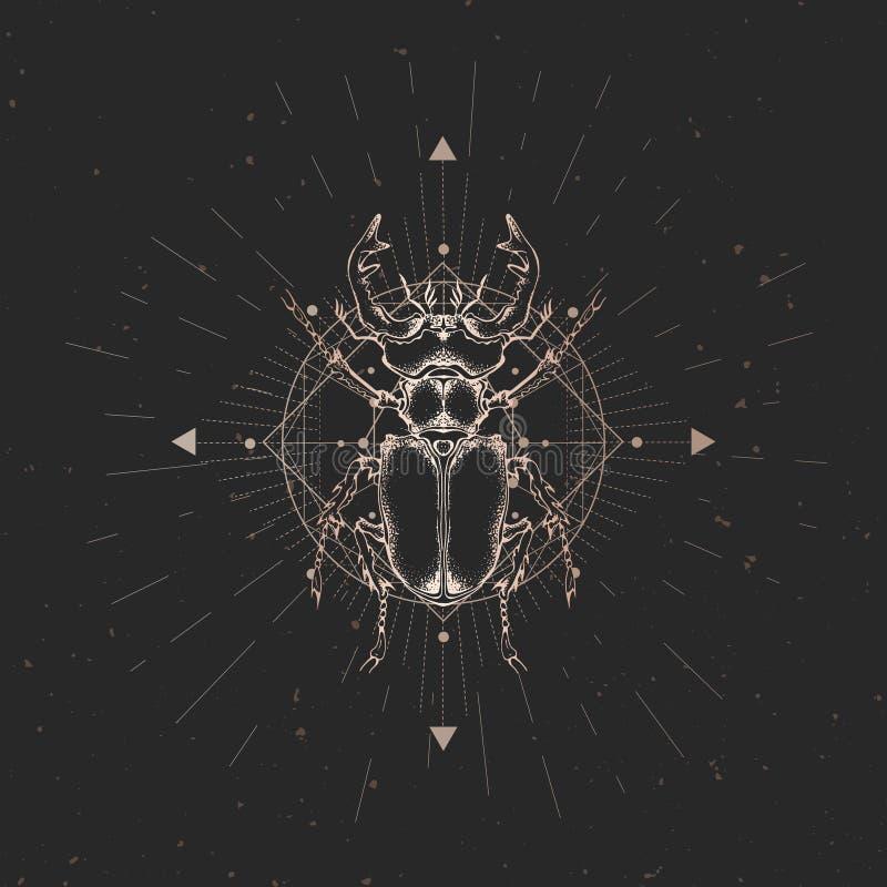 Wektorowa ilustracja z ręka rysującą jeleń ścigą i Święty geometryczny symbol na czarnym rocznika tle Abstrakcjonistyczny mistycz ilustracja wektor
