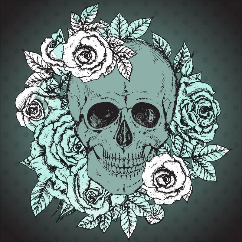 Wektorowa ilustracja z ręka rysującą ludzką czaszką, wzrastał kwiaty royalty ilustracja