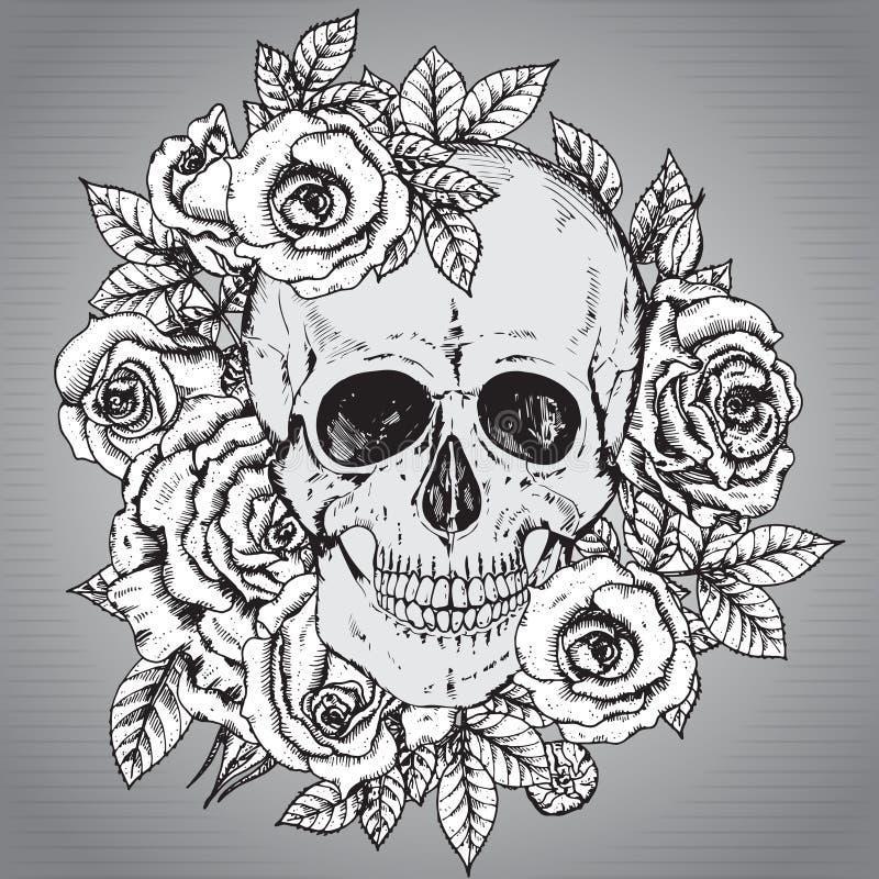 Wektorowa ilustracja z ręka rysującą ludzką czaszką z róża kwiatem royalty ilustracja