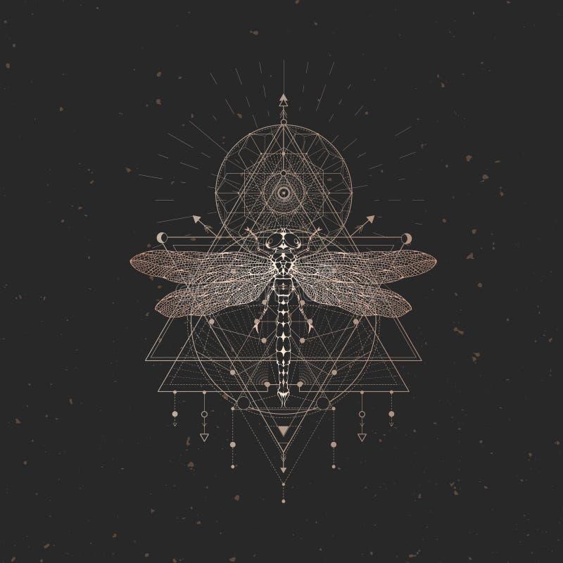 Wektorowa ilustracja z ręka rysującym dragonfly i Święty geometryczny symbol na czarnym rocznika tle Abstrakcjonistyczny mistyczk royalty ilustracja