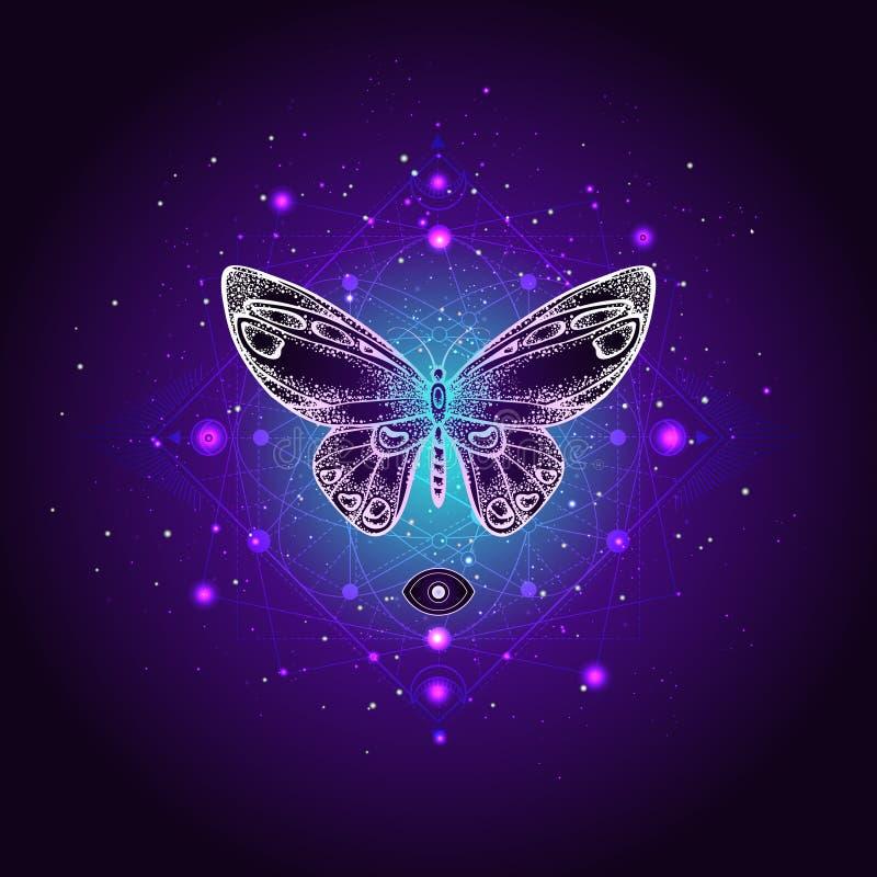 Wektorowa ilustracja z ręka rysującym motylim i Świętym geometrycznym symbolem przeciw nocy gwiaździstemu niebu Abstrakcjonistycz royalty ilustracja