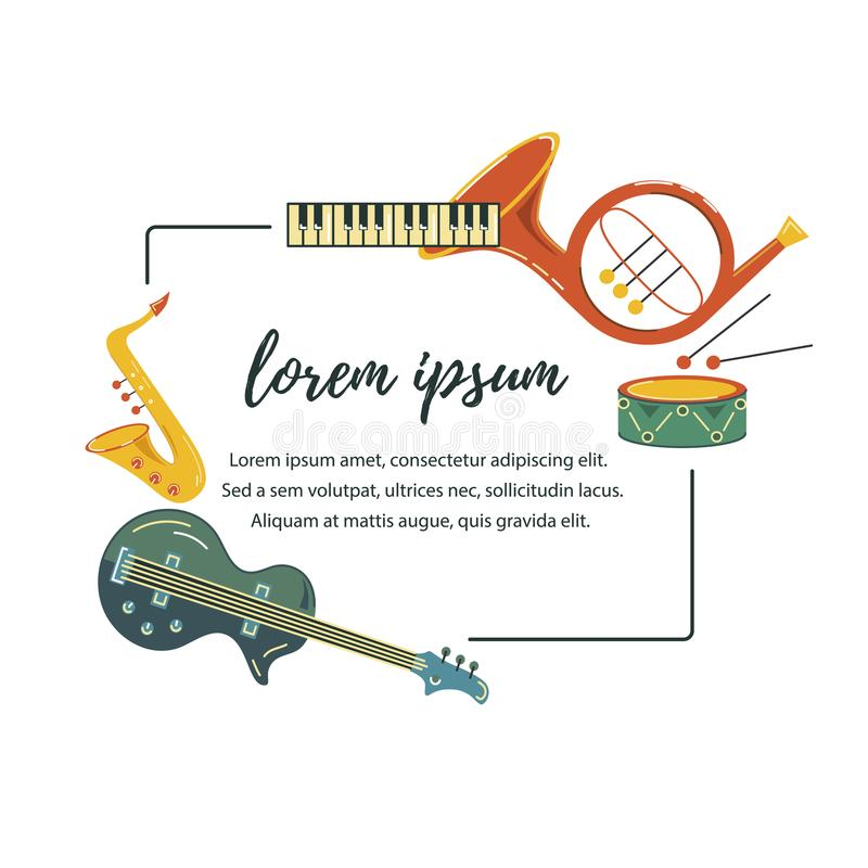 Wektorowa ilustracja z saksofonem, pianino, bęben, gitara, trąbka royalty ilustracja