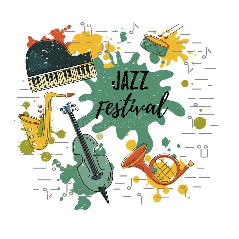 Wektorowa ilustracja z saksofonem, pianino, skrzypce, francuski róg, bęben ilustracji