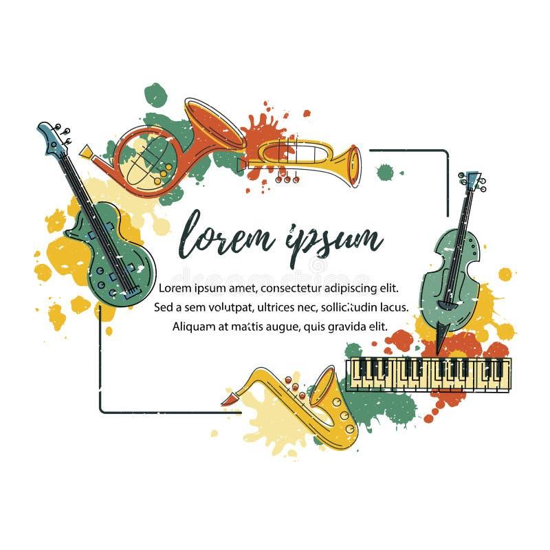 Wektorowa ilustracja z saksofonem, pianino, skrzypce, francuski róg, bęben, gitara, trąbka ilustracja wektor
