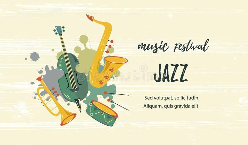 Wektorowa ilustracja z saksofonem, skrzypce, trąbką i bębenem, royalty ilustracja