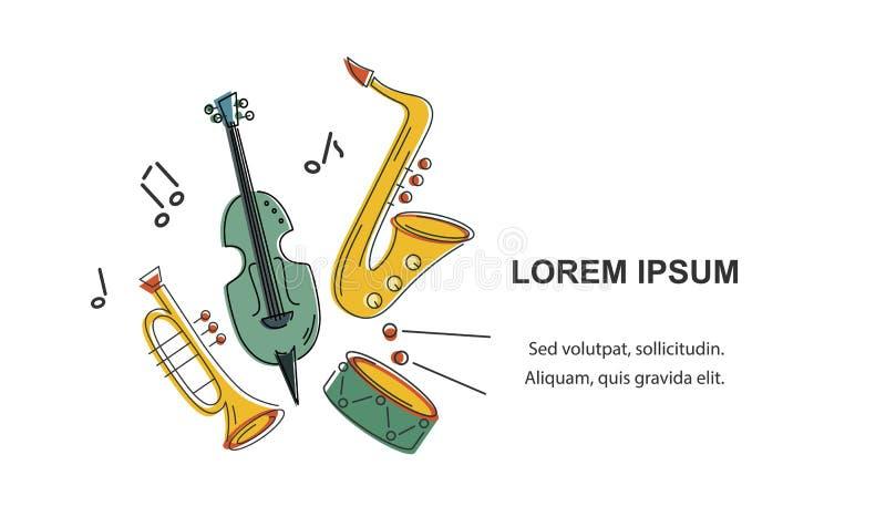 Wektorowa ilustracja z saksofonem, skrzypce, trąbką i bębenem, ilustracja wektor