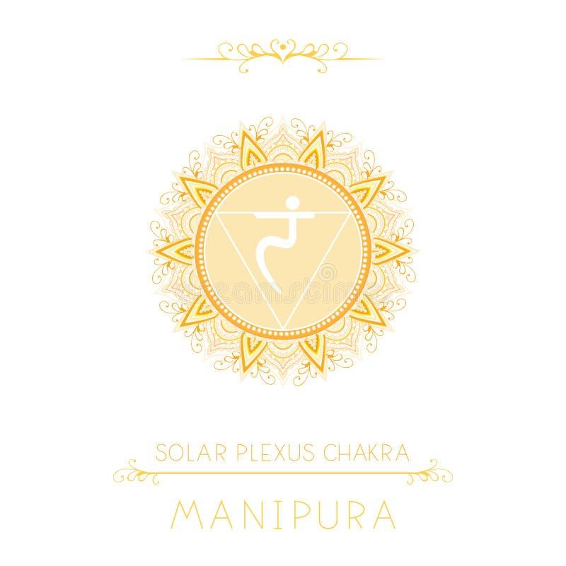 Wektorowa ilustracja z symbolem Manipura Słonecznego Plexus chakra i dekoracyjni elementy na białym tle - royalty ilustracja