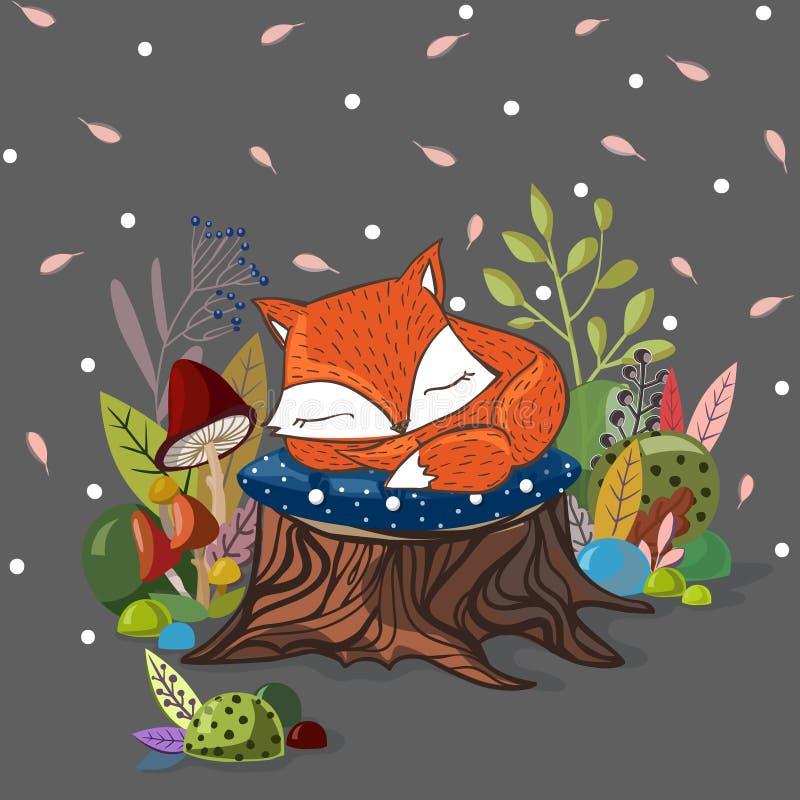 Wektorowa ilustracja z wśliznąć dziecko lisa, liście, gałąź ilustracji
