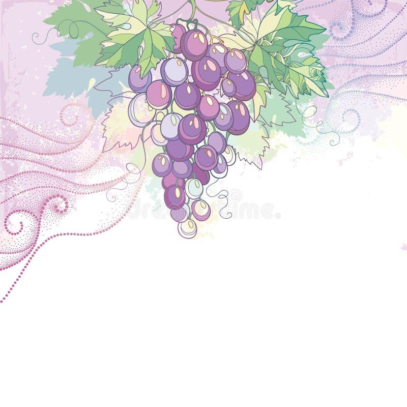 Wektorowa ilustracja z wiązką winogrona i winogron liście w pastelu na tle z kropkowanymi zawijasami royalty ilustracja