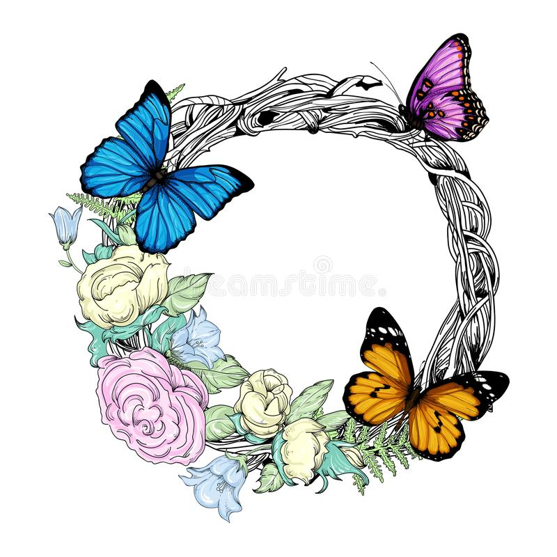 Wektorowa ilustracja z wiankiem, kwiatami i motylami, royalty ilustracja