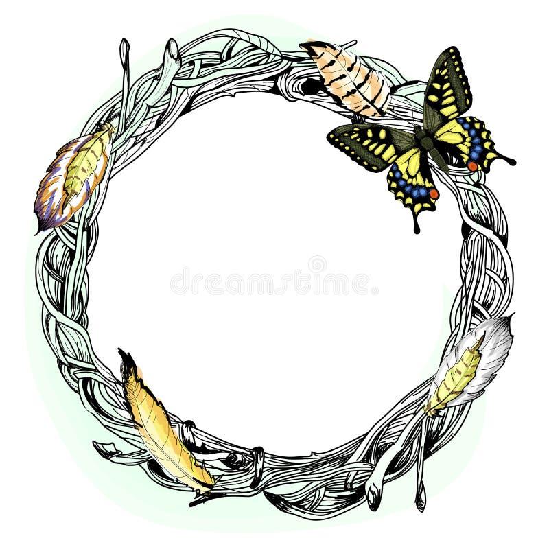 Wektorowa ilustracja z wiankiem, piórkiem i motylem, ilustracji