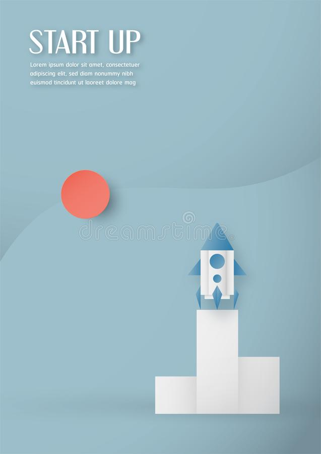 Wektorowa ilustracja z zaczyna w górę pojęcia w papieru cięciu, rzemiośle i origami stylu, Rakieta na niebie ilustracji