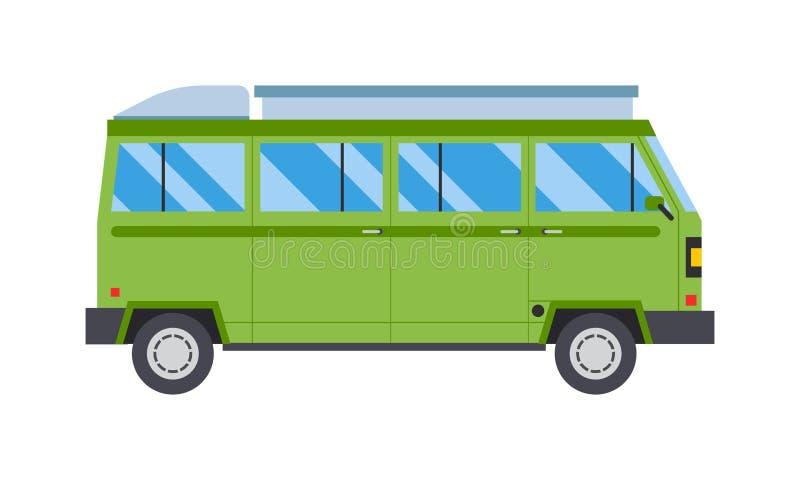 Wektorowa ilustracja z zielonym autobusowym drogowym podróż transportem ilustracji