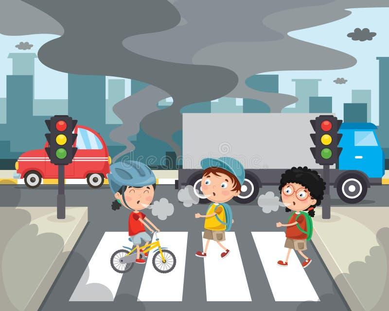 Wektorowa ilustracja zanieczyszczenie powietrza ilustracja wektor
