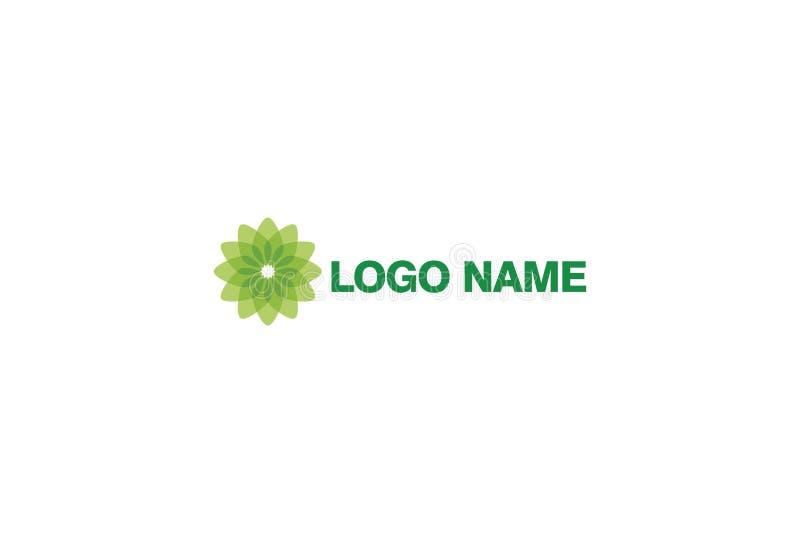 Wektorowa ilustracja Zielony kwiatu logo projekt royalty ilustracja
