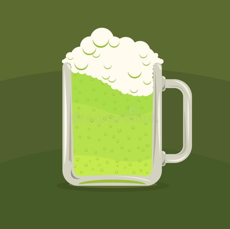 Wektorowa ilustracja zielony piwny kubek royalty ilustracja