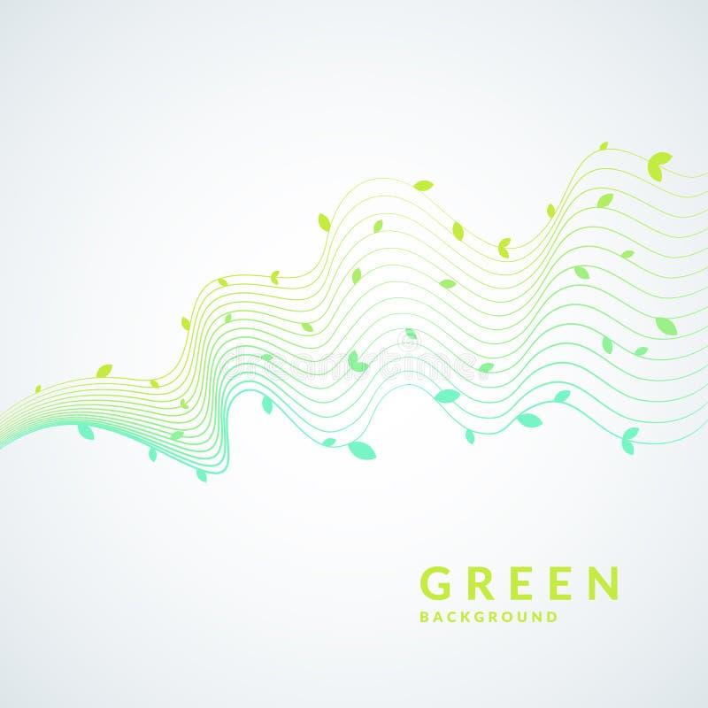 Wektorowa ilustracja zielony tło z dynamiczne fala i liście Jaskrawy plakat ilustracja wektor