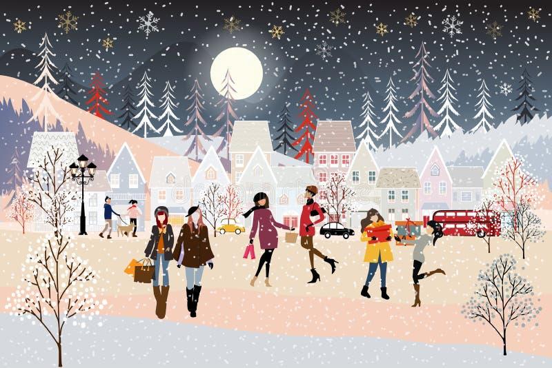 Wektorowa ilustracja: zimowa noc w święta Bożego Narodzenia z ludźmi świętującymi w parku ilustracji