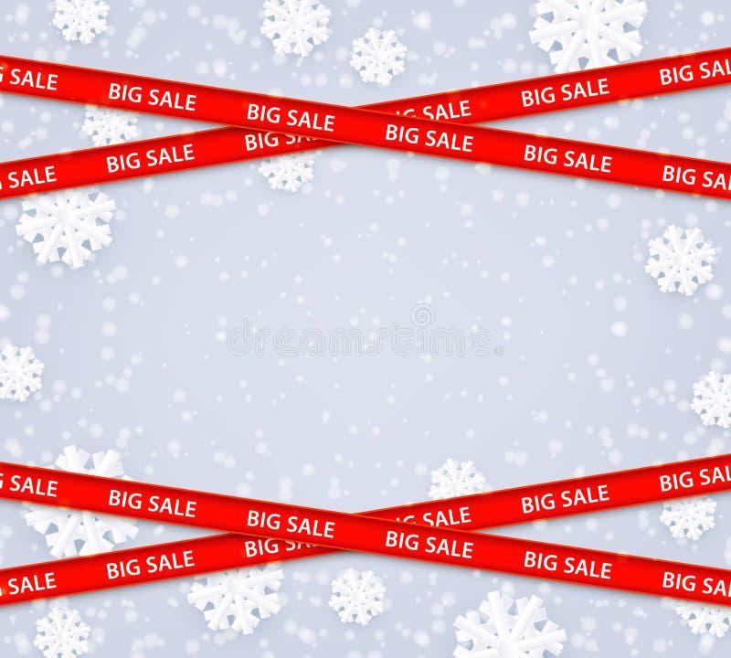 Wektorowa ilustracja zimy sprzedaży duży szablon z kopii przestrzenią royalty ilustracja