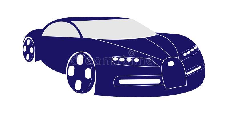 Wektorowa ilustracja zmrok - błękitny super samochód royalty ilustracja