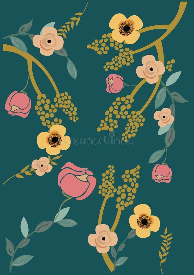 Wektorowa ilustracja zmrok - błękitny tło z kwiatami i liśćmi royalty ilustracja