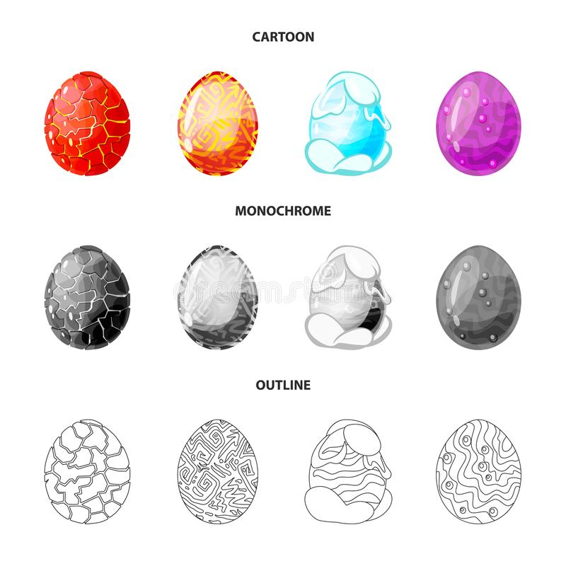Wektorowa ilustracja zwierzęcy i prehistoryczny symbol Set zwierzęcy i śliczny akcyjny symbol dla sieci ilustracja wektor