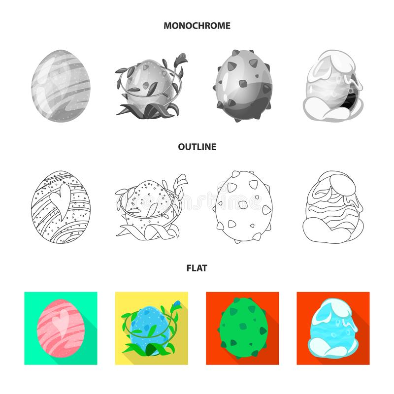 Wektorowa ilustracja zwierzęcy i prehistoryczny symbol Set zwierzęca i śliczna wektorowa ikona dla zapasu ilustracji