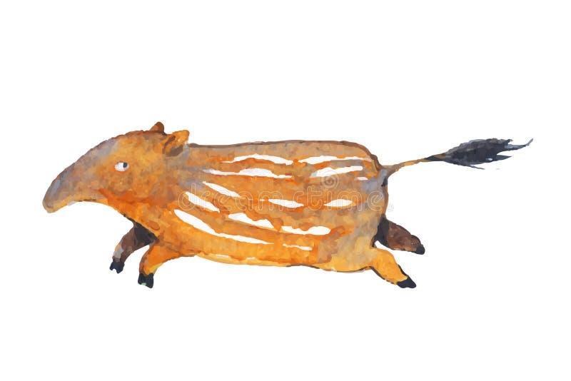 Wektorowa ilustracja zwierzę w wygaśnięciu dzwonił tapira lub tapirus życia w Andes Ameryka Południowa obrazy royalty free