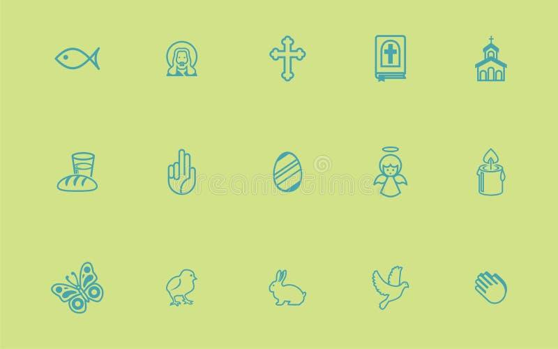 Wektorowa ilustracji biblia, anioł, kurczak, krzyż, kościół, królik, gołąb, motyl, jajko, świeczka, Jezus, kościół, modlitwa ilustracji