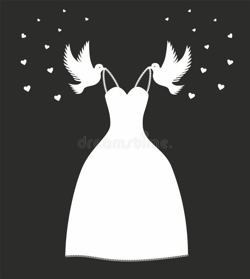 Wektorowa ilustracyjna ślubna suknia Kopciuszek - askungen inspiracja Suknia niosąca gołębiami lubi w bajce ilustracja wektor