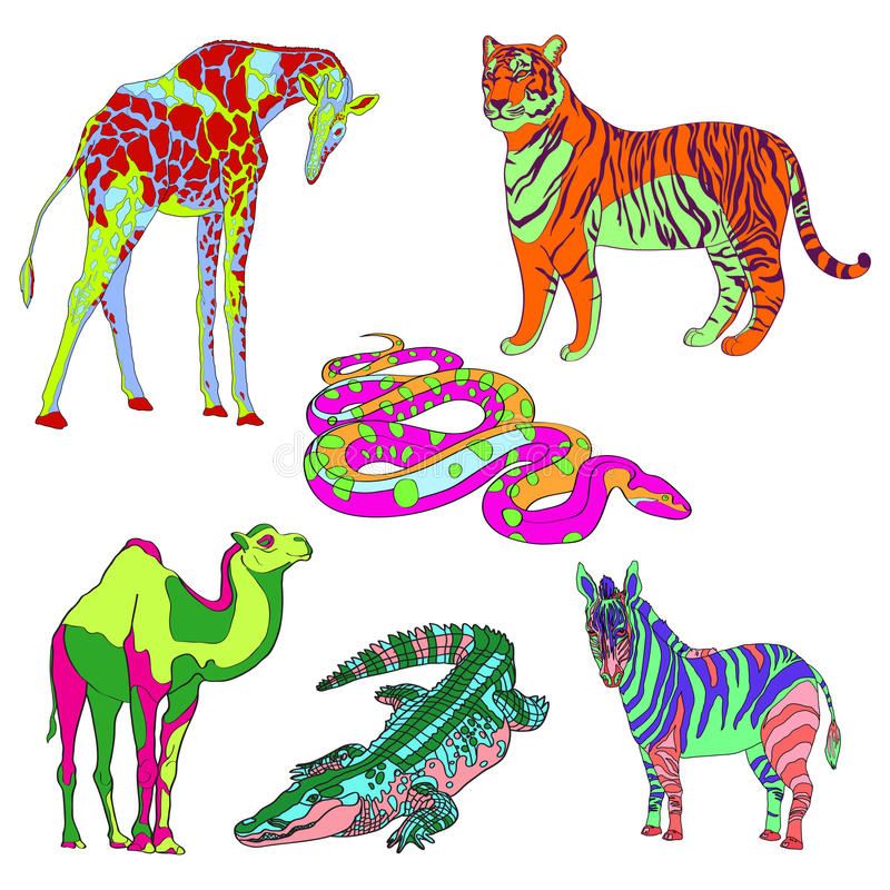 Wektorowa ilustracyjna żyrafa, zebra, krokodyl, wielbłąd, wąż i tygrys, kolor ilustracji