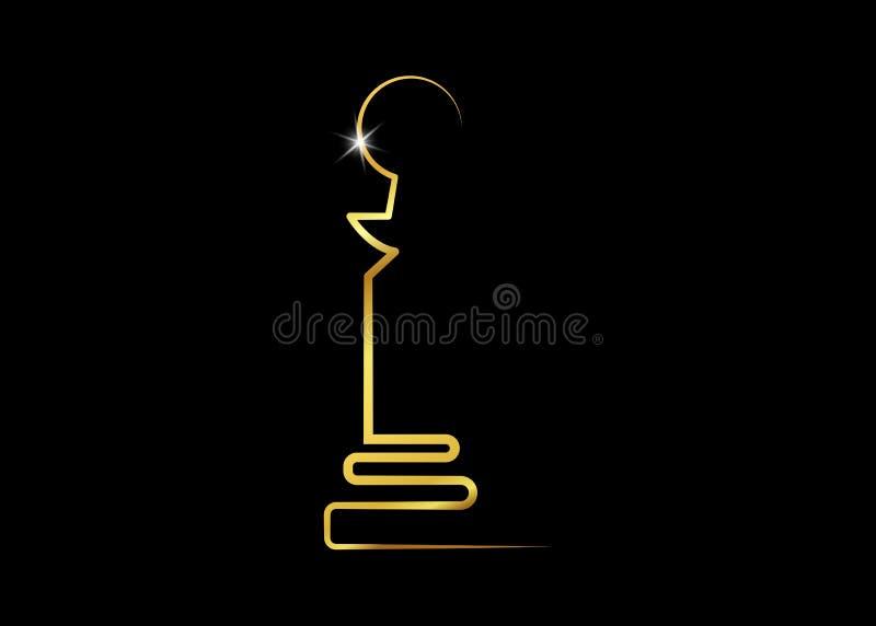 Wektorowa ilustracyjna abstrakcjonistyczna złota posążka loga ikona, czarny tło ilustracja wektor
