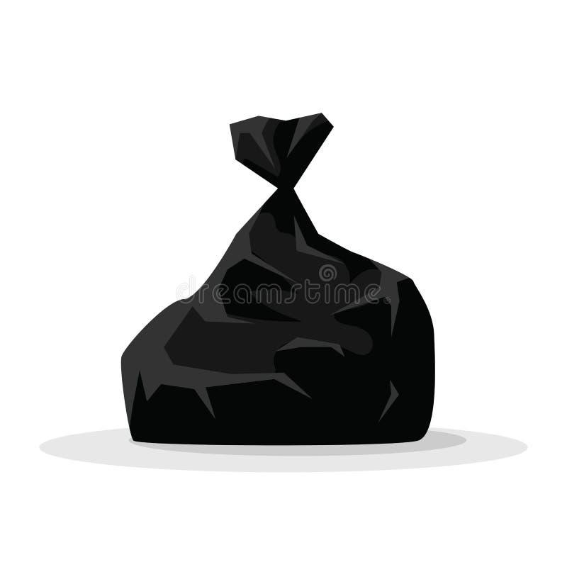 Wektorowa ilustracyjna czarna torba z śmieci odizolowywającym na białym tle Pakunków duzi czarni plastikowi worki z marnotrawią ilustracji