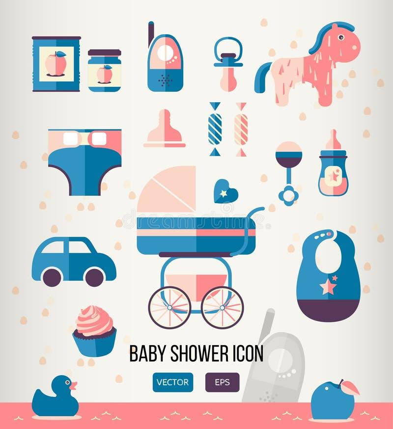 Wektorowa ilustracyjna dziecko prysznic ikona dla ilustracja wektor