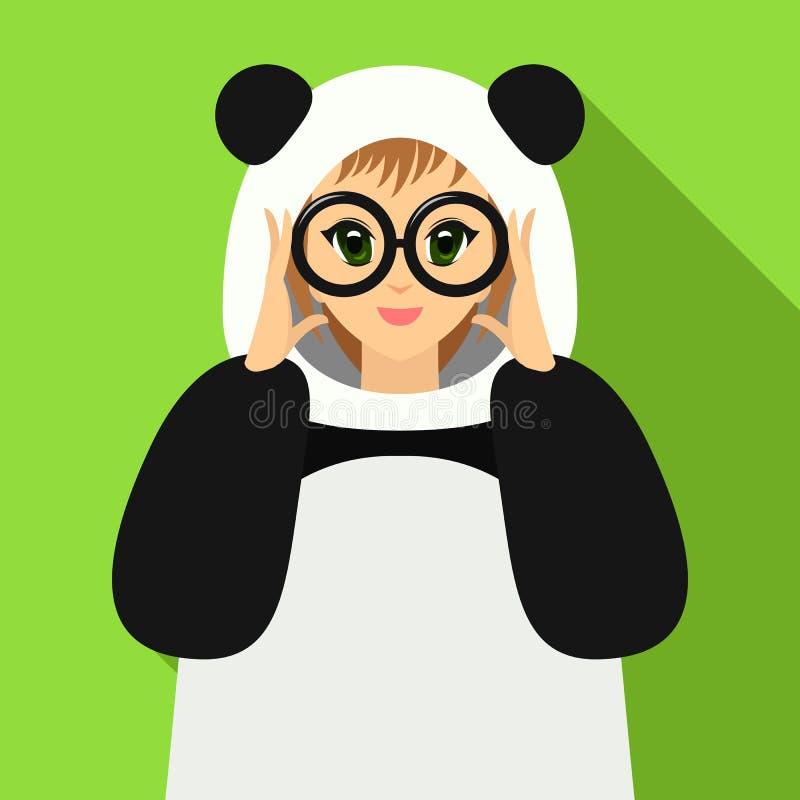 Wektorowa ilustracyjna dziewczyna w panda kostiumu mienia eyeglasses royalty ilustracja