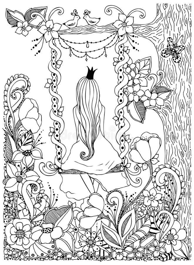 Wektorowa ilustracyjna dziewczyny Princess zentangle jazdy huśtawka Drewno, rama, kwiaty, ptaki drzewo, doodle, zenart, dudlart ilustracja wektor