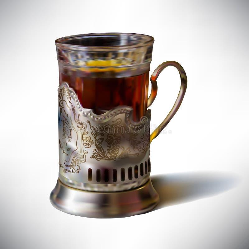 wektorowa ilustracyjna filiżanka herbata w starym filiżanka chwycie ilustracji